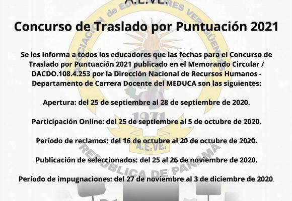 Información. Concurso de Traslado por Puntuación 2021