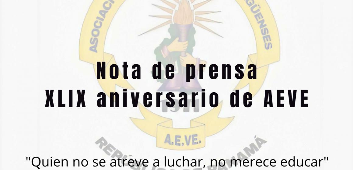 Nota de prensa. XLIX aniversario de AEVE