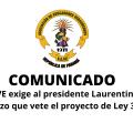 Comunicado. AEVE exige al presidente Laurentino Cortizo que vete el proyecto de Ley 311