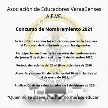 Concurso de Nombramiento 2021
