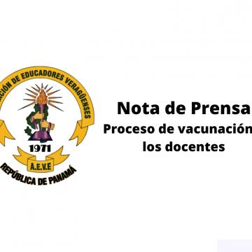 Nota de prensa. Proceso de vacunación a los docentes